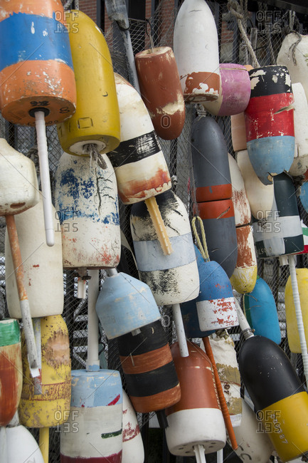 USA, Colorful fishing floats and buoys