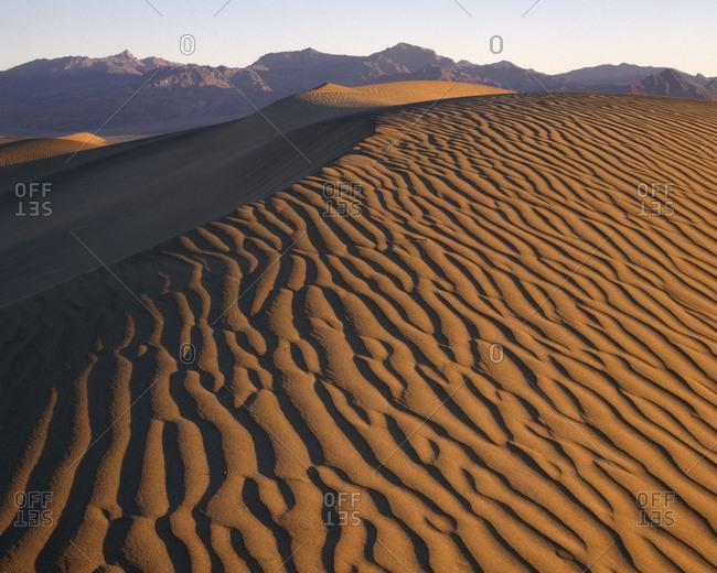 USA, California, Death Valley National Park, Desert landscape at sunset