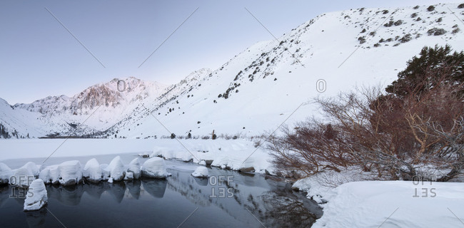 USA, California, Sierra Nevada Range, Sunrise on mountain and Convict Lake