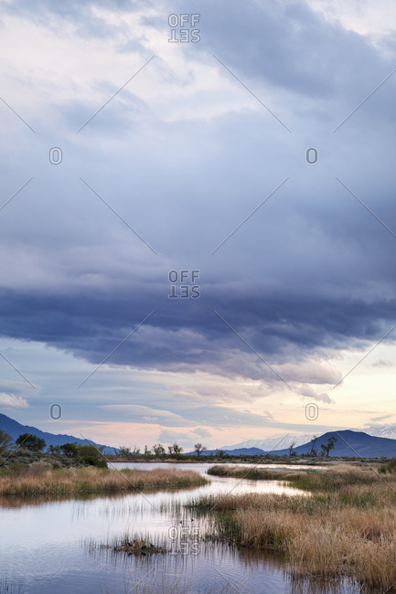 USA, California, Owens Valley, Sunset on Buckley Ponds