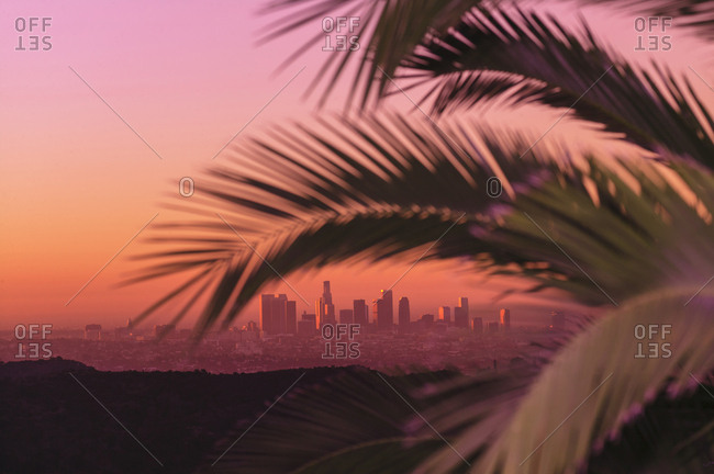 Sunset, Los Angeles skyline viewed from Hollywood Hills, Southern California, USA
