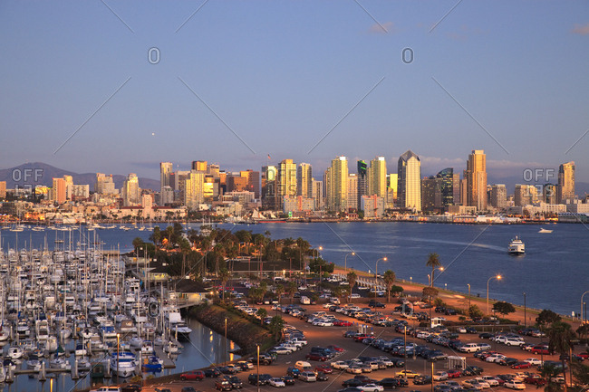 Aerial View of San Diego Skyline, Harbor Island Boats in the foreground, California, USA, Summer