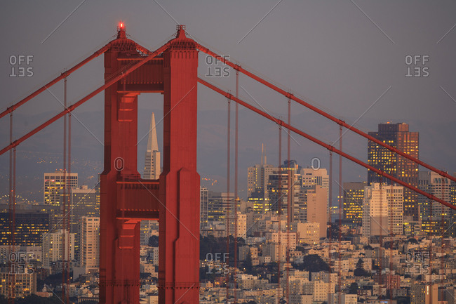 View from Golden Gate National Recreation Area, Golden Gate Bridge with city of San Francisco behind, Central California coast USA