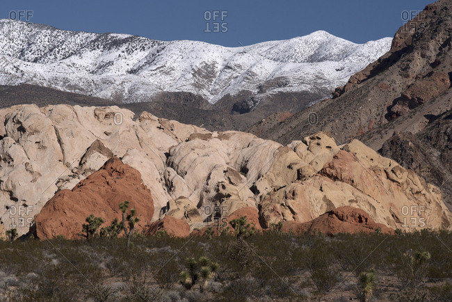 USA, Nevada, Desert floor to snow covered mountains at Whitney Pockets Gold Butte National Monument