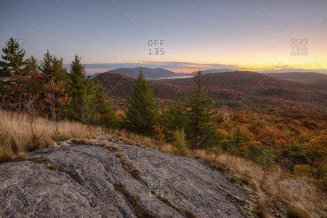 USA, New York State, View from Coney Mountain in autumn, Adirondack Mountains