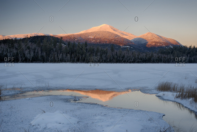 USA, New York State, Alpenglow on Whiteface Mountain in winter, Adirondack Mountains
