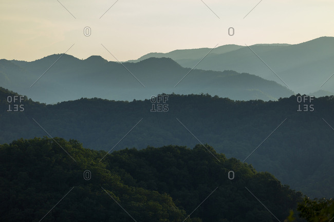 Mountain ridges layered through this sunset image taken in the Great Smoky Mountains National Park