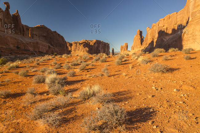 USA, Utah, Arches National Park, Park Avenue rock formations