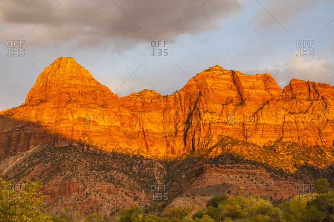 USA, Utah, Zion National Park, The Watchman formation at sunset