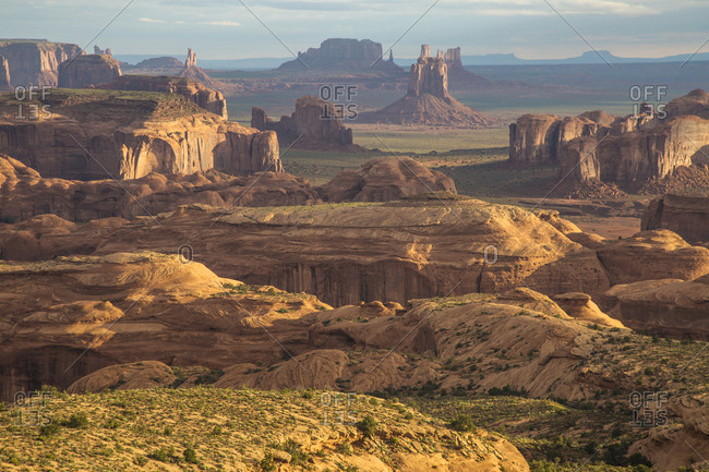 USA, Utah, Monument Valley Navajo Tribal Park, Landscape with eroded formations