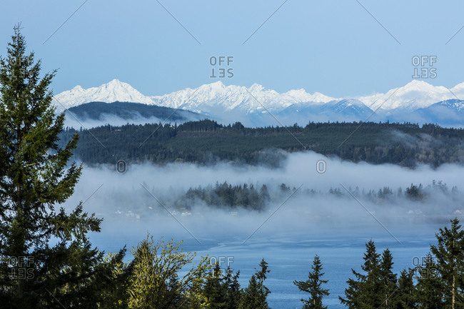 Bremerton, Washington State, Two layers of fog rise from the Puget Sound up to the snowcapped Olympic Mountains