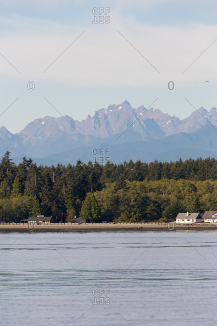 USA, Washington State, Skunk Bay, Admiralty Inlet Kitsap Peninsula, Olympic Mountains