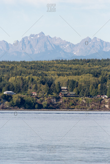 USA, Washington State, Olympic Mountains from Hood Canal calm, Divides Kitsap and Olympic Peninsulas