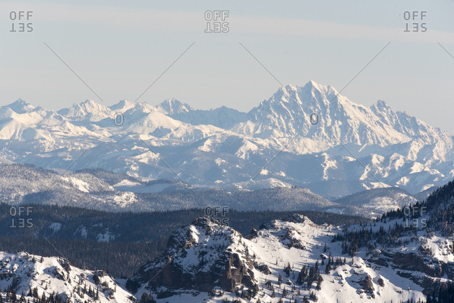 USA, Washington State, View from gondola summit of Stuart Range and Mt, Stuart (2nd highest non volcanic peak)