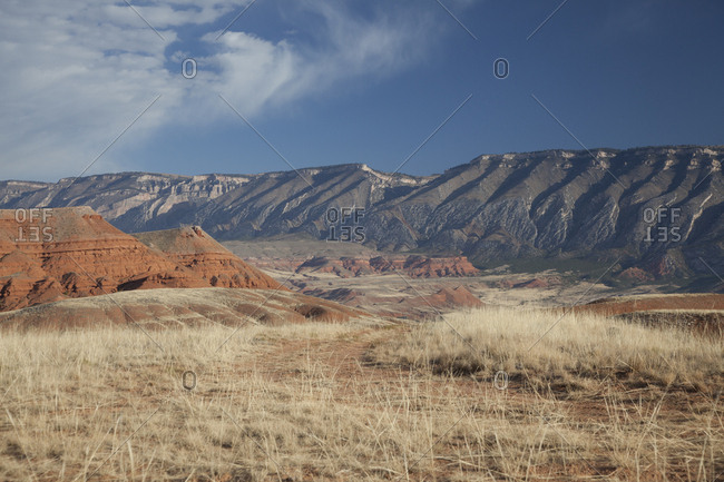 USA, Wyoming, Shell, The Hideout Ranch, The Red Rock and Mountains of the Ranch