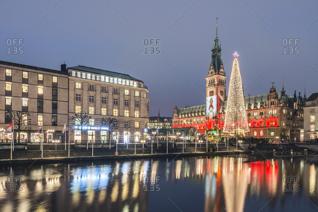 November 29, 2017: Germany- Hamburg- Little Alster- Christmas tree- town hall at World AIDS day