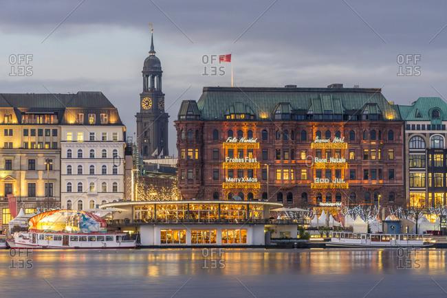 December 4, 2017: Germany- Hamburg- Jungfernstieg and St. Michaelis Church at Christmas time