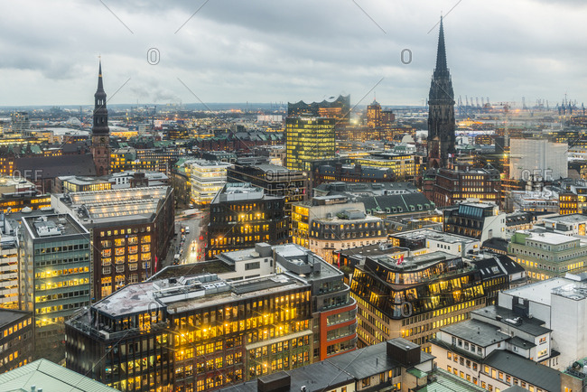 December 14, 2017: Germany- Hamburg- City view- St. Catherine's Church- St. Nicholas' Church