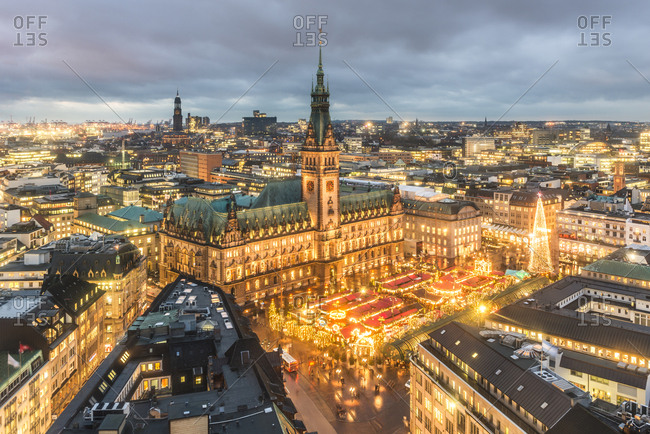 December 14, 2017: Germany- Hamburg- Christmas market at town hall in the evening