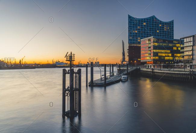 January 8, 2018: Germany- Hamburg- Grasbrook Harbor and Elbe Philharmonic Hall