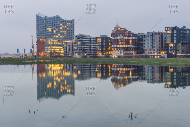 January 4, 2018: Germany- Hamburg- Hafencity- modern buildings and Elbe Philharmonic Hall in the evening