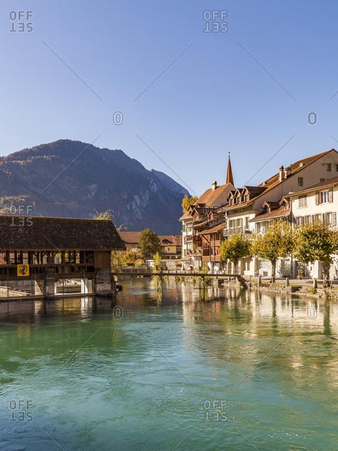 October 15, 2017: Switzerland- Bern- Bernese Oberland- Interlaken- Old town- Aare river
