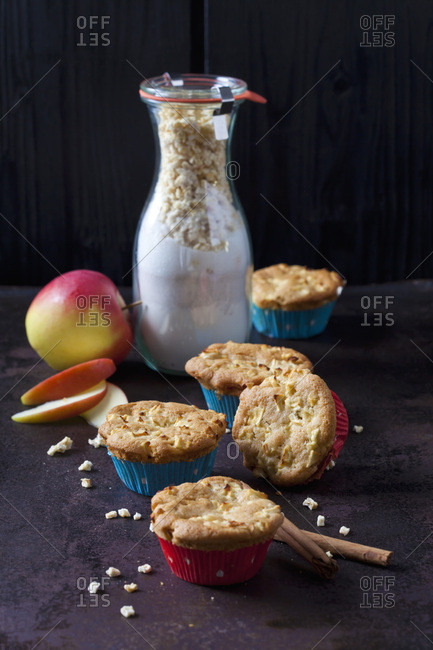 Apple cinnamon muffins and glass bottle of baking mix