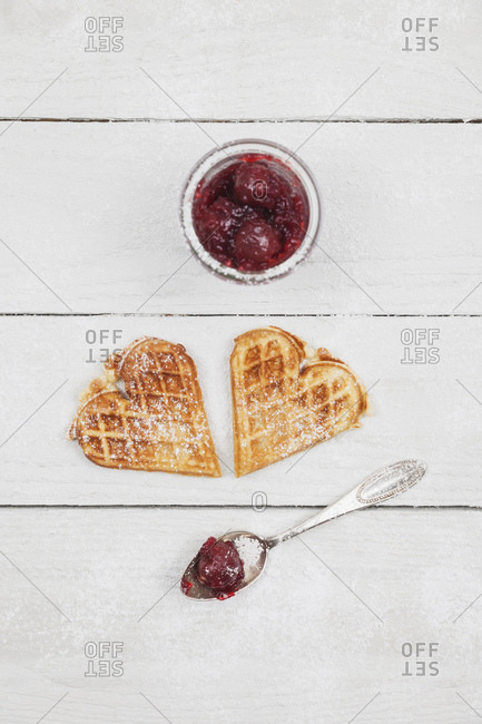 homemade waffles with cherries- waffle hearts with cherry blossom decoration