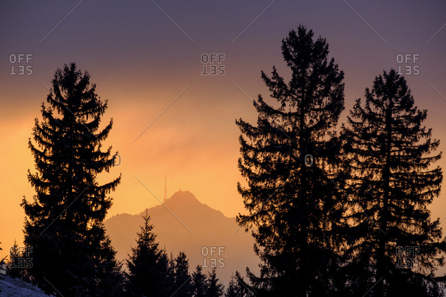 Germany- Bavaria- Swabia- near Wertach- Gruenten- afterglow