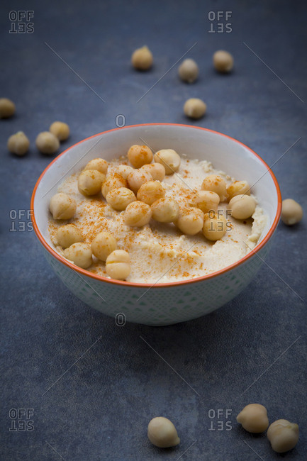Bowl of Hummus garnished with chick peas