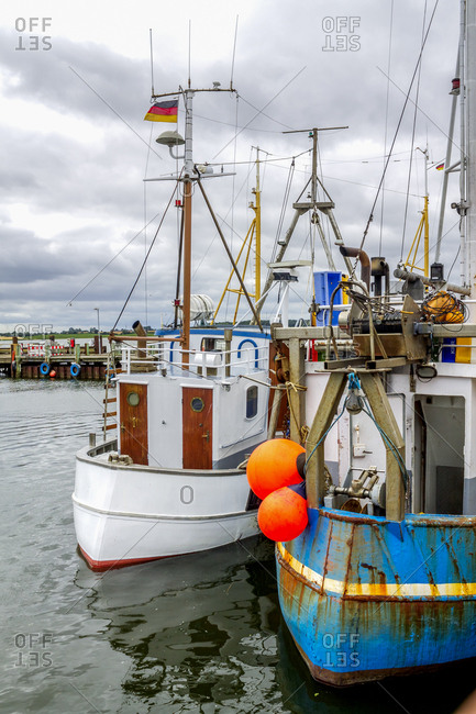 Germany- Schleswig-Holstein- Maasholm- Fishing harbor- fishing boats