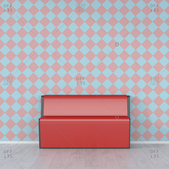 Red bench in front of checkered pattern wallpaper- 3d rendering