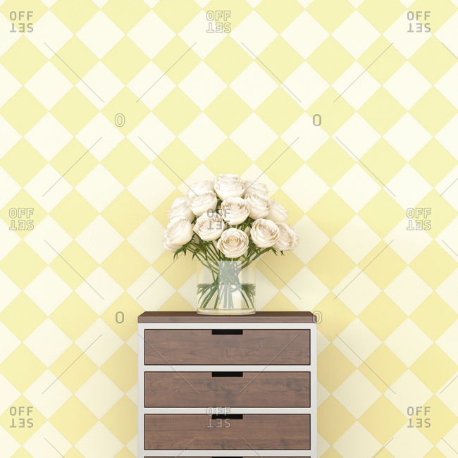 Bunch of flowers on chest of drawers in front of checkered pattern wallpaper- 3d rendering