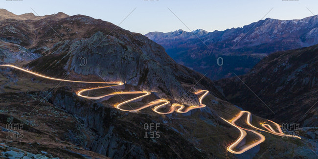 Switzerland- Valais- Alps- Gotthard pass in the evening