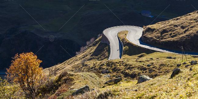 Switzerland- Valais- Alps- Furka pass- hairpin bend