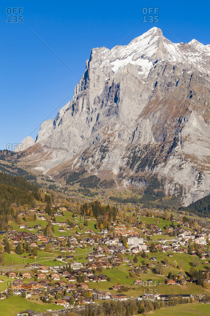 Switzerland- Bern- Bernese Oberland- holiday resort Grindelwald- Wetterhorn mountain