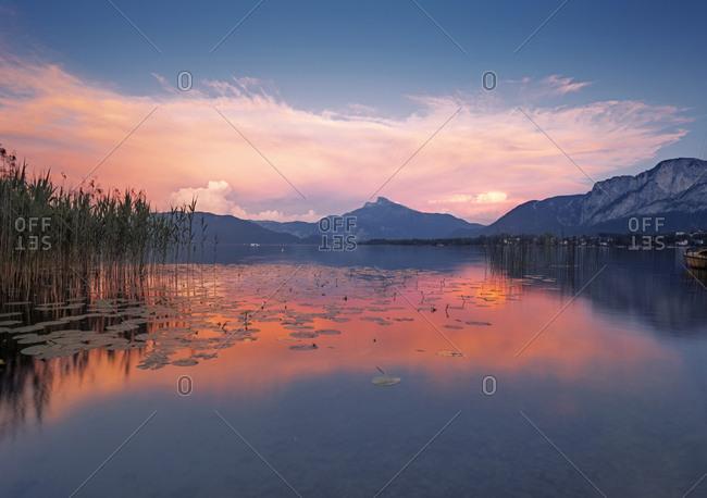 Austria- Upper Austria- Lake Mondsee at dusk
