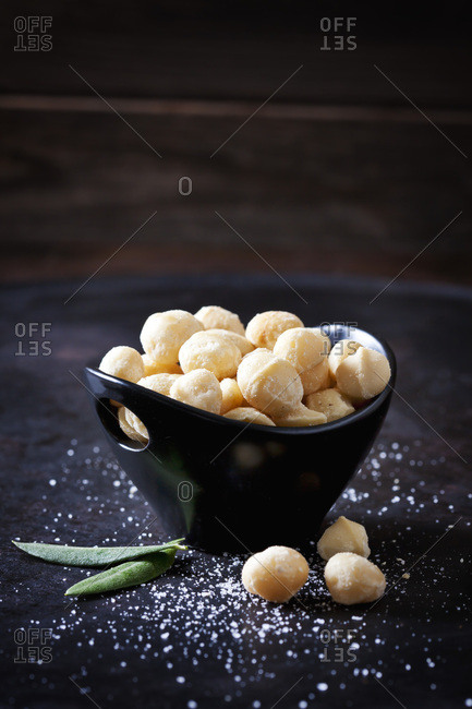 Bowl of salted macadamia nuts