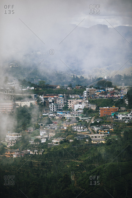 Hapatule, Sri Lanka - February 3, 2018: Mist obscuring the mountain town of Hapatule