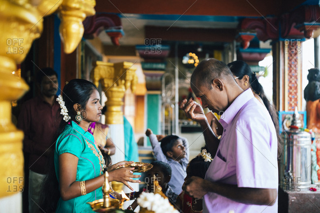 Hapatule, Sri Lanka - February 3, 2018: Guest arrives at a wedding at a small temple