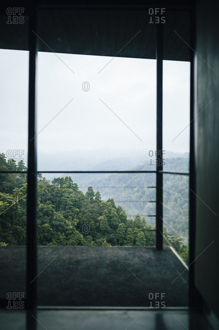 Kandy, Sri Lanka - February 5, 2018: Looking out over the jungle and the mountains from a room at Santani Resort