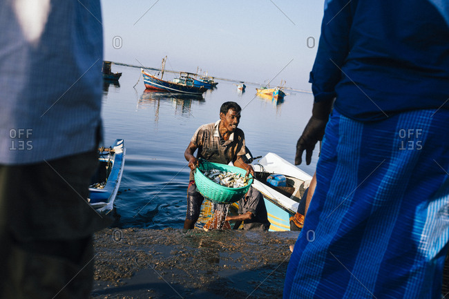 Jaffna, Sri Lanka - February 9, 2018: Fisherman carrying morning catch up to shore from boat