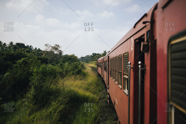 Jaffna, Sri Lanka - February 10, 2018: Looking out of the train at the countryside of northern Sri Lanka
