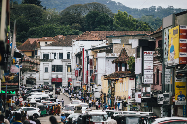 Kandy, Sri Lanka - January 31, 2018: Downtown streets in Kandy