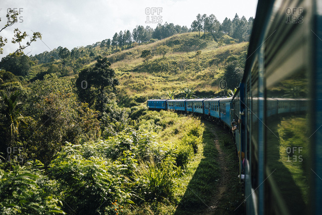 Ella, Sri Lanka - February 1, 2018: A train running through hill country