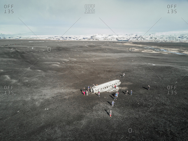 ICELAND - 16 March 2017 : Aerial view of Solheimasandur plane wreck in Iceland.