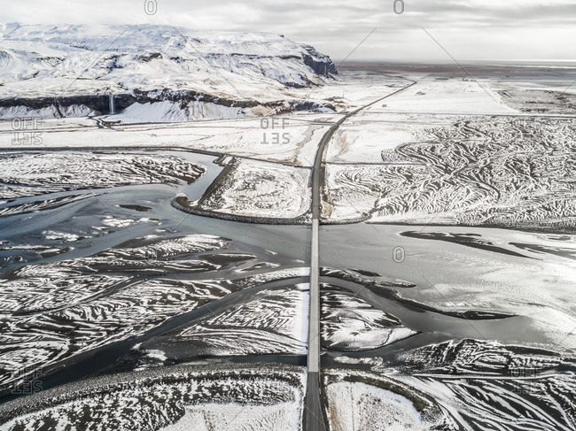 Aerial view of meltwater running off Eyjafjallajokull Volcano in Iceland.