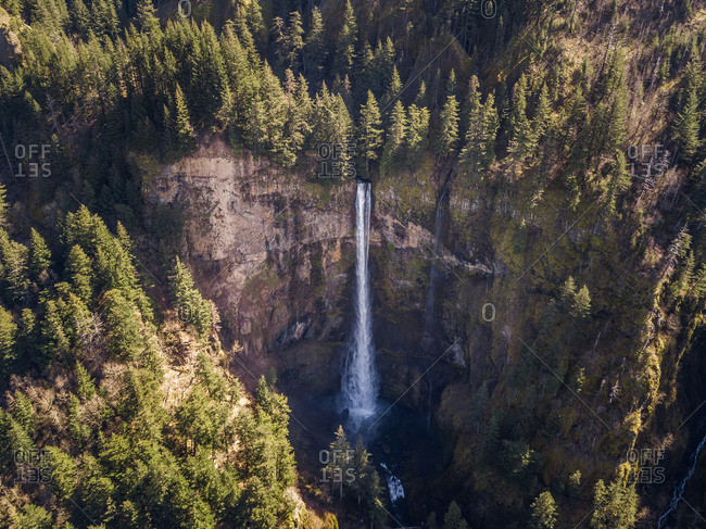 Aerial view of Multnomah Falls in Oregon, USA.