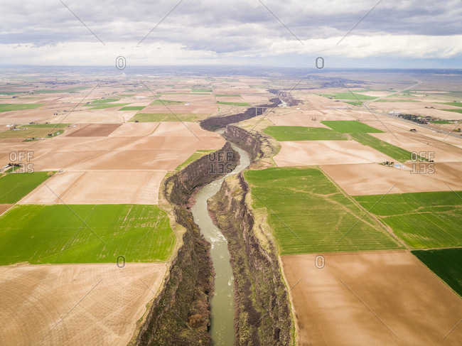 Aerial view of the Snake river in Idaho, USA.