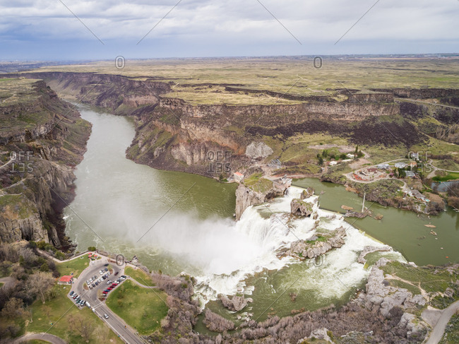 Aerial view of Shoshone falls park in Idaho, USA.